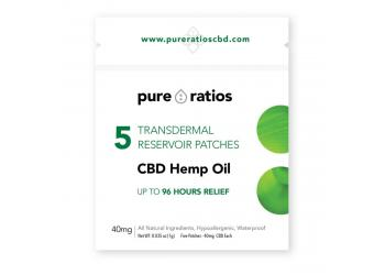 40mg CBD HEMP OIL TRANSDERMAL PATCH 96 HOURS 5 Pack