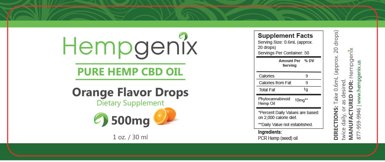 CBD Oil 500mg 30ml Orange Flavor